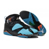Air Jordans 7 Black Blue Orange Shoes Online