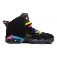 Air Jordans 6 Retro Black/Pink Flash-Marina Blue For Sale Top