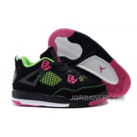 Cheap Kids Jordan 4 Basketball Shoes Black Pink Green For Sale Authentic