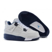 Kids Jordan 4 White Legend Blue-Midnight Navy Hot