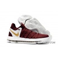 Super Deals Nike KD 10 Burgundy White/Gold