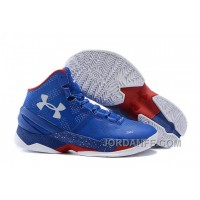 "Under Armour Curry 2 ""Providence Road"" Blue White Red Shoes For Sale New Arrival"