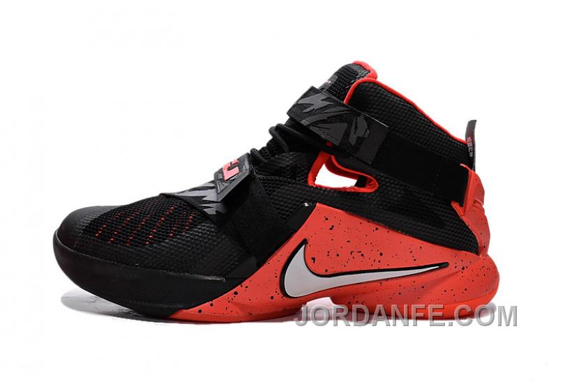 new arrival 3a741 0a8ee Nike LeBron Soldier 9 Black Red Basketball Shoe Super Deals