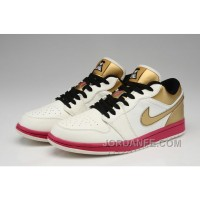 Air Jordan 1 Low Aaa High Quality White Gold Authentic
