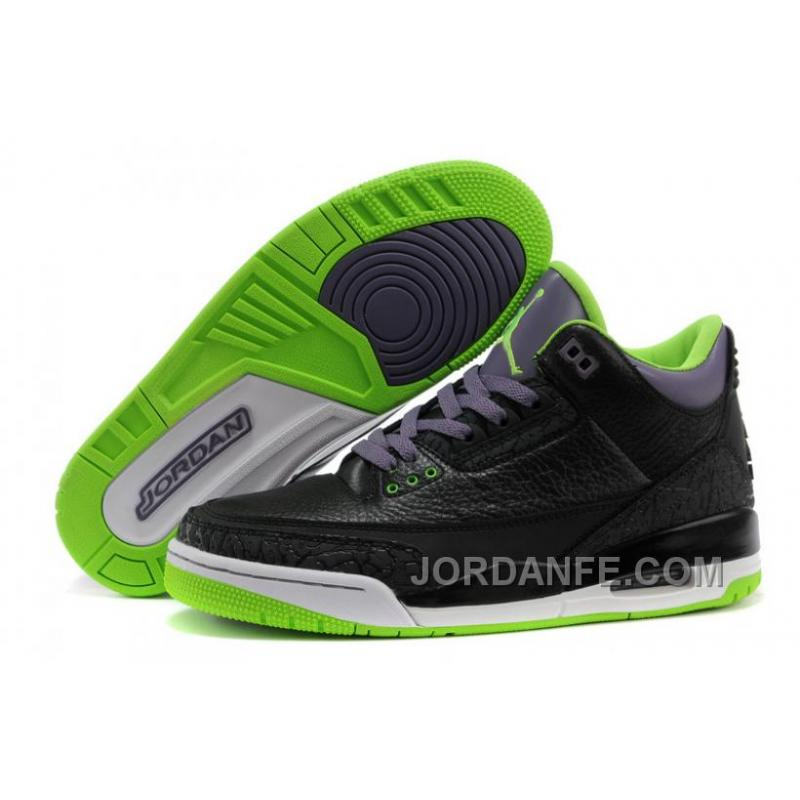 "new style 9765b 9b58f Air Jordans 3 Retro ""Joker"" Black/Electric Green-Canyon Purple-White New  Release"