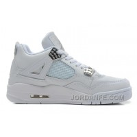 "Air Jordans 4 Retro ""Silver 25th Anniversary"" White/Metallic Silver For Sale New Arrival"