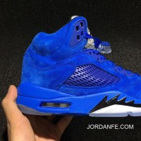 Air Jordan 5 Blue 136021-401 Mens Leather For Sale