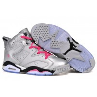 "Air Jordans 6 Retro ""Valentines Day"" Metallic Silver/Vivid Pink-Black For Sale New Release"