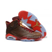 "Air Jordans 6 Retro ""Championship Cigar"" Raw Umber/Chilling Red-Team Red-Metallic Gold New Release"