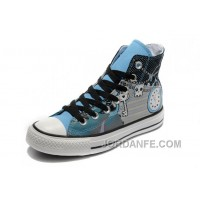Key Skull Clock Print Blue CONVERSE High Ps Punk Collection Pirate Pattern Canvas Shoes Cheap To Buy