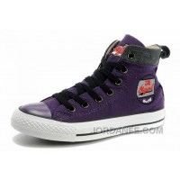 Cool CONVERSE Womens Embroidery Purple High S Chucks All Star Canvas Grey Suede Easy Slip Top Deals