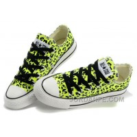 CONVERSE Leopard Womens All Star Shoes Green Black Print Chuck Taylor Tops Canvas For Grils Authentic