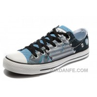 Blue CONVERSE Punk Collection Pirate Pattern Tops Canvas Shoes New Release