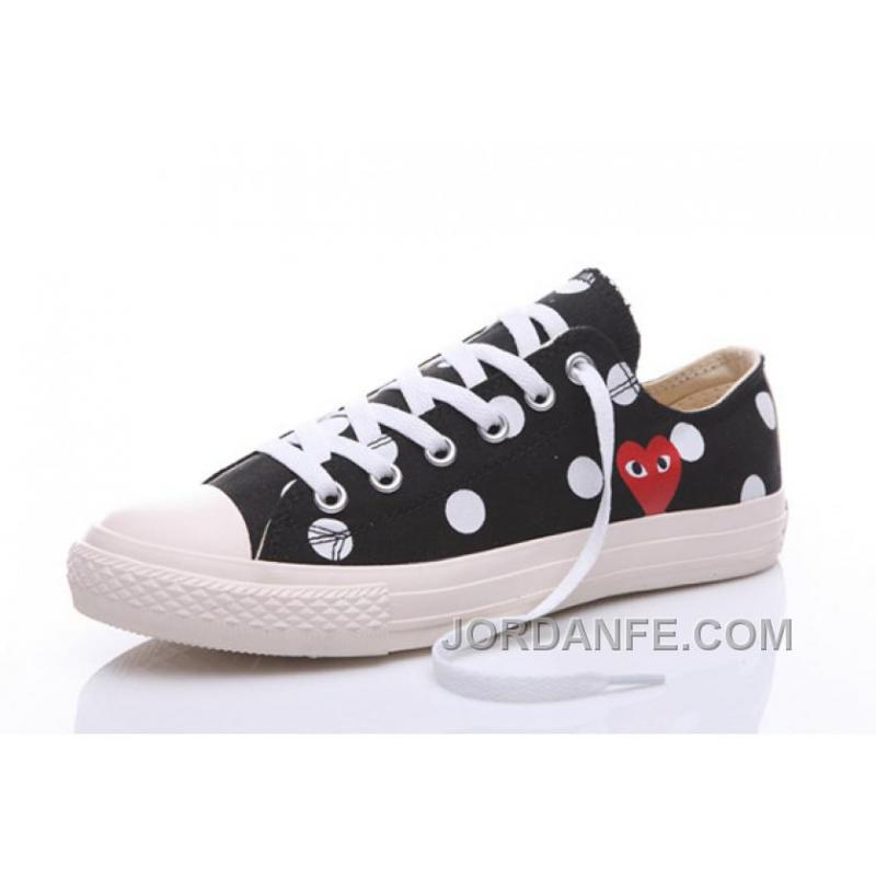 Black CONVERSE Comme Des Garcons Polka Dot Play Chuck Taylor Low Authentic  ...