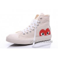 White CONVERSE Comme Des Garcons Play Chuck Taylor Hi Sneakers Free Shipping