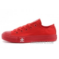 CONVERSE All Red All Star Skull Canvas Chuck Taylor Sneakers Cheap To Buy