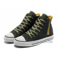 For Sale Unisex CONVERSE Leopard Zipper Olive Chuck Taylor All Star High Tops Canvas Shoes