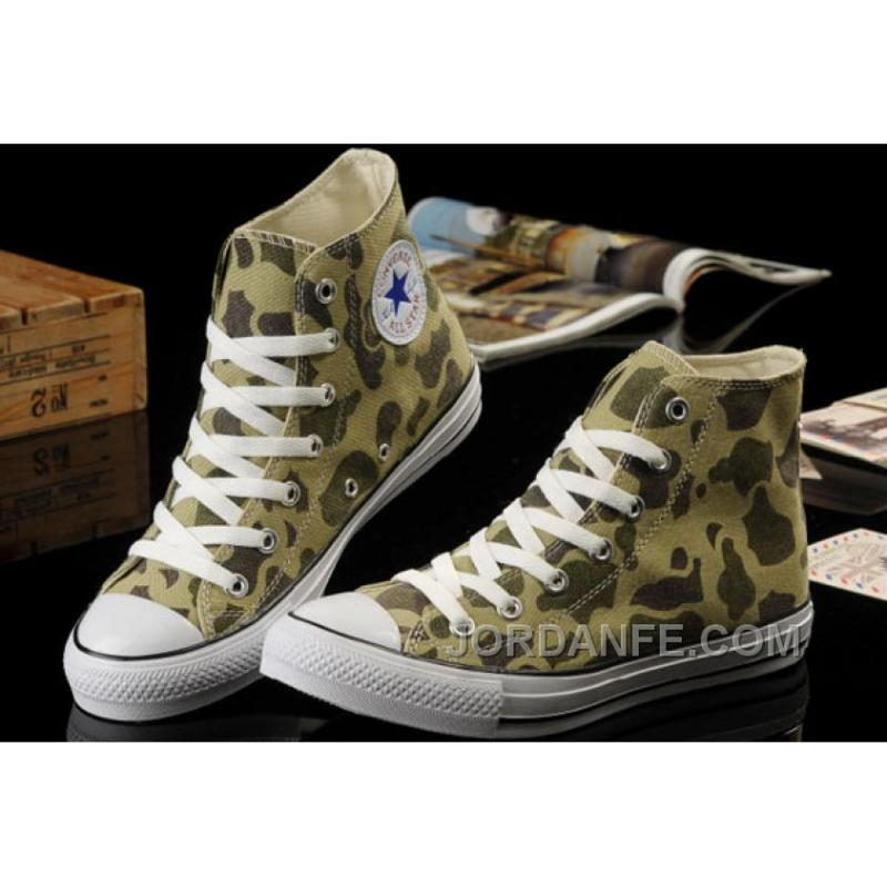 2013 Summer Hot Converse Nicolas Cage Soul Camouflage Olive Green All Star Chuck Taylor High S Canvas Sneakers Top Deals