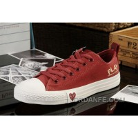 Red CONVERSE All Star Light Comme Des Garcons Play Canvas Tops Shoes New Release