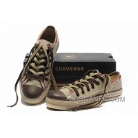 All Star CONVERSE Rens Double Upper Tongue Oxford Tops Beige Canvas Orange Plaid Brown Toe And Laces Shoes Lastest