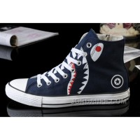 Blue All Star CONVERSE Shark Printed High Ps Zipper Canvas Shoes Cheap To Buy