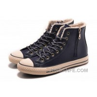 Blue CONVERSE Winter Boots Wool Inner Side Zip High Leather New Release