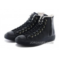 Super Deals Black CONVERSE Winter Boots Wool Inner CT AS High Side Zip Leather