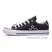 Black CONVERSE Star Embroidery Chuck Taylor All Star Canvas Shoes For Sale