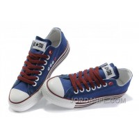 All Star Blue Red CONVERSE Multi Lines Tops Canvas Shoes Super Deals