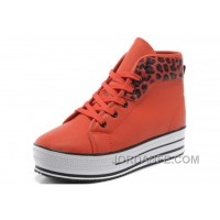 Orange Red CONVERSE All Star Platform Leopard Leather Top Deals