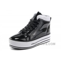 New All Star Platform CONVERSE Shiny Black Leather Shoes Lastest