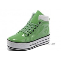 Green CONVERSE Platform All Star Shiny Leather Shoes Free Shipping
