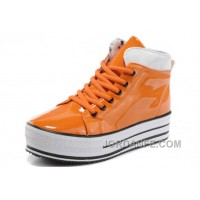 Orange All Star Platform CONVERSE Shiny Leather Shoes Cheap To Buy