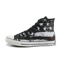 Cool CONVERSE American Flag Black Red White Graffiti Print Chuck Taylor All Star Canvas Sneakers Discount