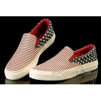 David Beckham Wore CONVERSE American Flag All Star Slip On Chuck Taylor Sneakers Red Blue Canvas Sneakers Free Shipping