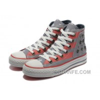 Lastest Grey Red American Flag CONVERSE Metal All Star The End Of The World Canvas Shoes