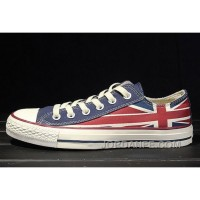Red Blue CONVERSE Rock Union Jack British Flag Chuck Taylor All Star Canvas Sneakers For Sale