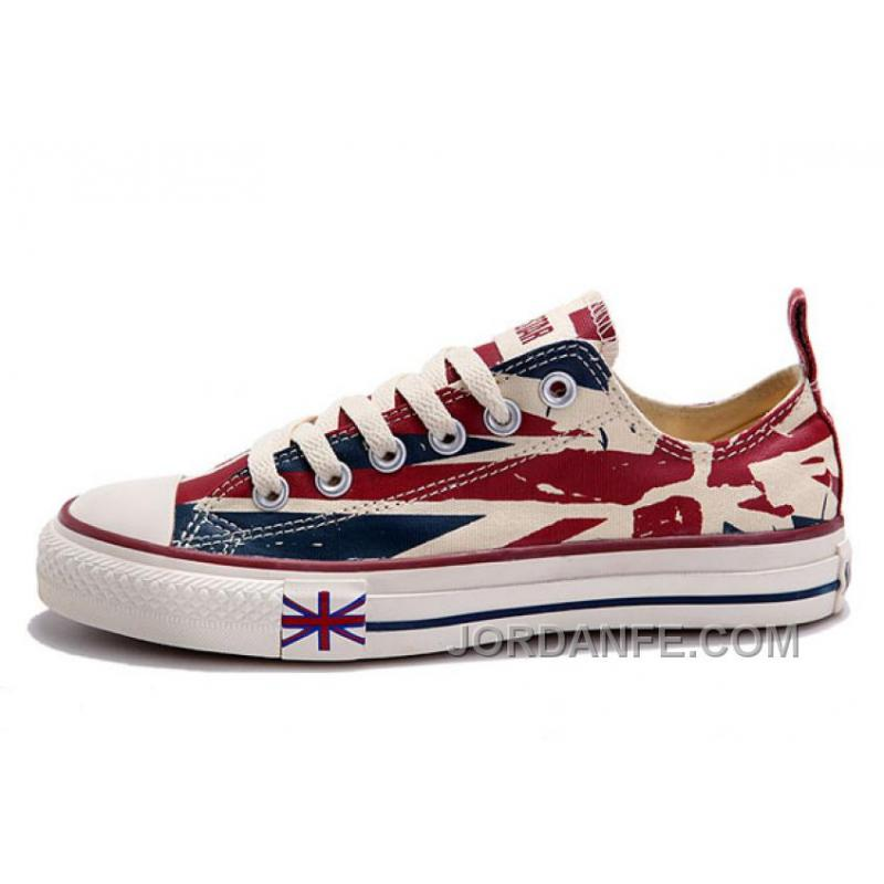 151dfe19d9cc USD  59.20  99.18. Blue CONVERSE British Flag Print All Star Beige Red  Canvas London Shoes Lastest ...