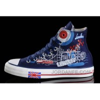 Blue CONVERSE British Flag London Building Printed Canvas Transparent Soles Shoes Cheap To Buy