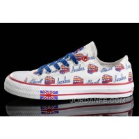 White CONVERSE UK Flag London Bus Printed Canvas Transparent Soles Shoes New Release