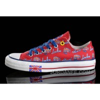 Red CONVERSE British Flag London Bus Printed Canvas Transparent Soles Shoes Authentic