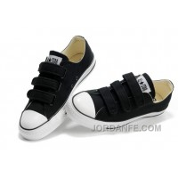 Velcro CONVERSE All Star Black 3 Strap Canvas Shoes New Release
