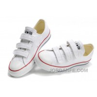 Classic CONVERSE 3 Strap All Star Velcro White Canvas Shoes Online
