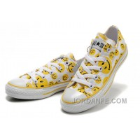 Yellow Smiley Face CONVERSE White Canvas Sneakers Women Online