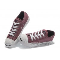 Free Shipping Red CONVERSE Jack Purcell Vintage Washed Canvas Shoes