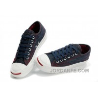 Blue CONVERSE Jack Purcell Denim Jean Red Serif Canvas Sneakers Discount