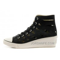 CONVERSE Women Black Mermaid Wedge Heel Chuck Taylor All Star Sandals Free Shipping