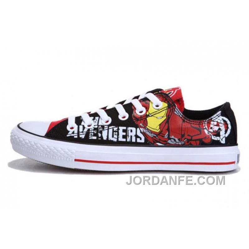 65c610eb1f66 Iron Man CONVERSE Printed The Avengers Comics Black Red Shoes For ...