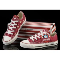 Red Captain America CONVERSE Tops Canvas Shoes Lastest