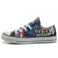CONVERSE Captain America The Avengers Edition Printed Blue Black Tops Canvas Shoes Discount